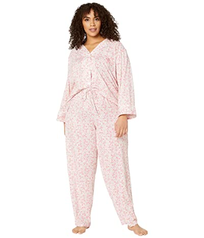LAUREN Ralph Lauren Plus Size Cotton Rayon Jersey Knit 3/4 Sleeve Notch Collar Long Pants Pajama Set (Pink Floral) Women