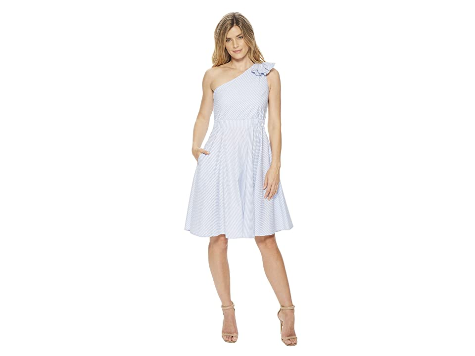Calvin Klein One Shoulder Striped A-line Dress CD8G12HF (Chambray/White) Women