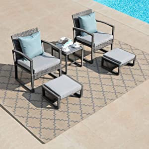 Patiorama 5 Piece Outdoor Patio Wicker Furniture Set, All Weather Grey PE Rattan Chair and Ottoman Footstool Set, W/Coffee Table, Cushions (Light Grey) for Garden, Balcony, Porch, Space Saving Design