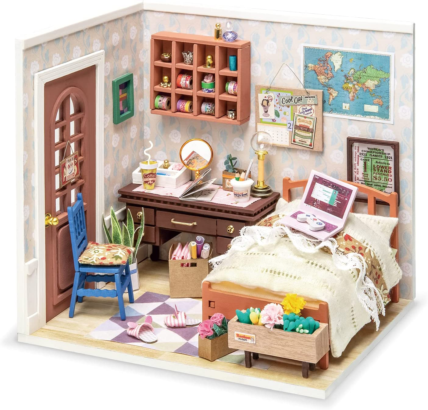 Rolife Miniature DIY Miniature Dollhouse with Furniture Set with LED,Tiny Building House Kit,Wooden Greenhouse Kits,Best Gift for Kids(Anne's Bedroom)