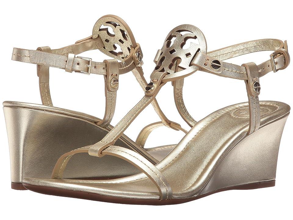 Tory Burch Miller 60mm Wedge Sandal (Spark Gold) Women