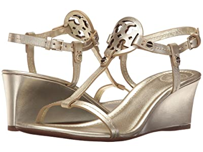 Tory Burch Miller 60mm Wedge Sandal (Spark Gold) Women