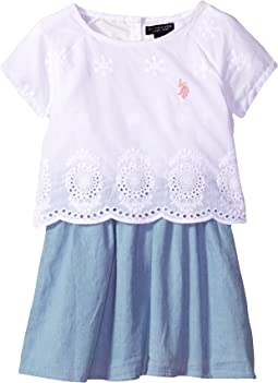 Embroidered Eyelet Woven Dress (Little Kids)
