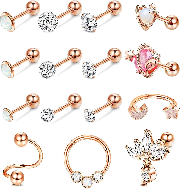 JOERICA 16G Cartilage Earrings Stud Hoop for Women 316L Stainless Steel Opal CZ Stud Earrings Helix Tragus Conch Ear Piercing Jewelry