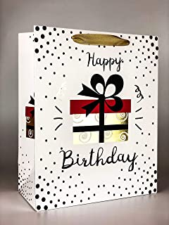 4 PC Gift Paper Bag (Mix Designs, Birthday Collection) Gold Gloss Print – 210 GSM Kraft Paper | Ribbon Handle | 100% Recyc...