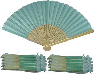 Rangebow SHF10 Azul Turquesa Aqua Paquete de 10 Venta al por mayor de tela de seda mano ventilador de costillas de ...