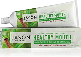 JASON Healthy Mouth Anti-Cavity & Tartar Control Toothpaste, Tee Tree Oil & Cinnamon, 6 oz. (Pack of 3) (Packaging May Vary)