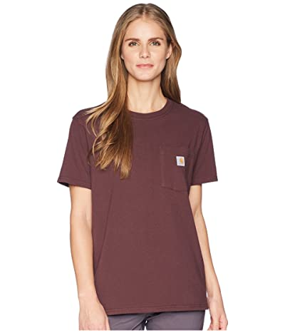 Carhartt WK87 Workwear Pocket Short Sleeve T-Shirt (Deep Wine) Women