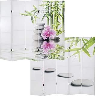 Mendler Paravento divisore doppia immagine 3 pannelli T233 120x180cm orchidee