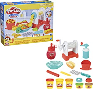 Play-Doh Kitchen Creations Spiral Fries Playset برای کودکان 3 سال به بالا با اسباب بازی سرخ کردنی ، بارانی ، و 5 رنگ ترکیبی مدلینگ ، غیر سمی