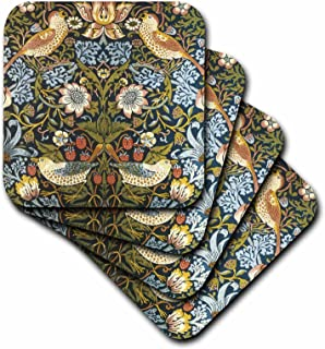 3dRose William Morris Strawberry Thief Pattern - Soft Coasters, Set of 4 (CST_219390_1)