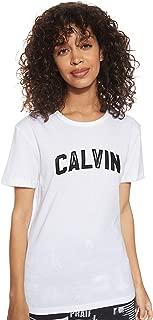 Calvin Klein Jeans Women's VARSITY CALVIN SLIM TEE T-Shirts, White (Bright/Ck Black 112), Small