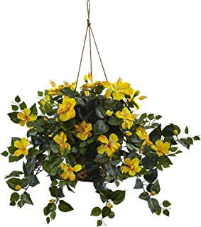 Nearly Natural 6866-YL 22in. Hibiscus Hanging Basket