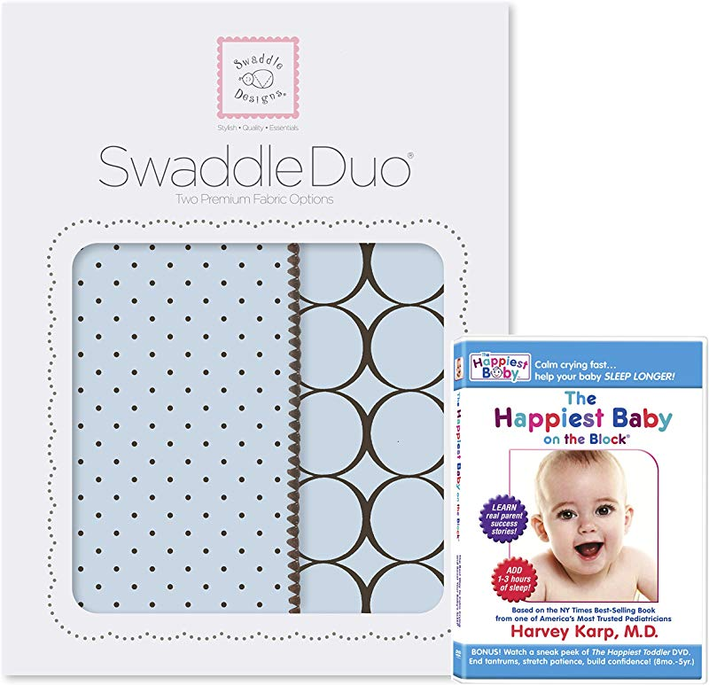 SwaddleDesigns SwaddleDuo Set Of 2 Swaddling Blankets The Happiest Baby DVD Bundle Pastel Blue Modern Duo