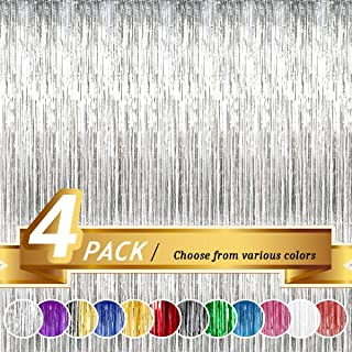 BTSD-Home Silver Foil Fringe Curtain Metallic Photo Booth Tinsel Backdrop Door Curtains for Wedding Birthday and Special F...