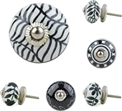 Jay Knopf 277 6079 Assortiment de 6 boutons de meuble en c/éramique Style vintage//r/étro//shabby Noir//blanc