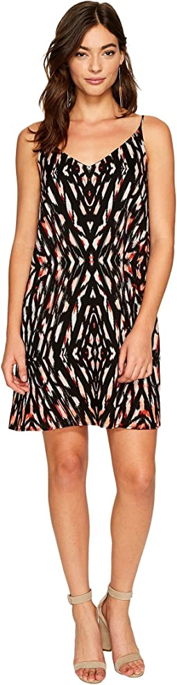 1.STATE - Spaghetti Strap Lattice Back Shift Dress