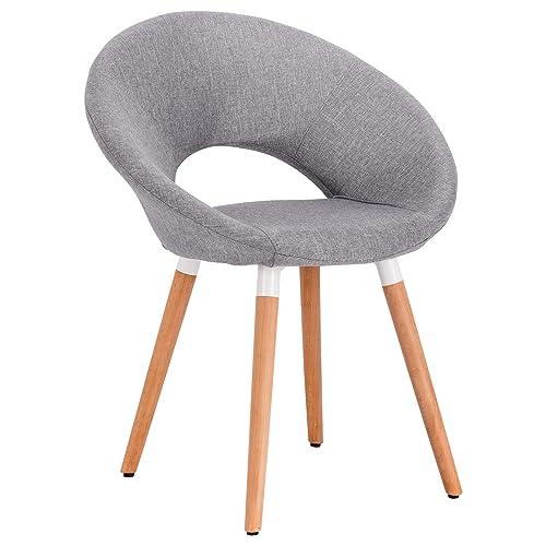 WOLTU 1X Chaise de salle à manger en lin Fauteuil de salon design rétro,Gris Clair BH72hgr-1