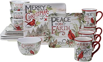 Certified International Evergreen Christmas 16pc Dinnerware, Service for 4, Multicolored