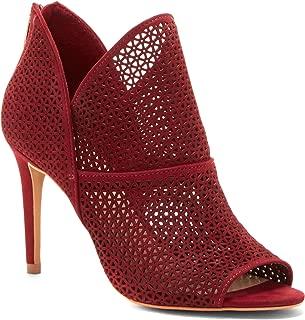 Camuto Vatena Samba Red Suede Laser-Cut Stiletto Peep-Toe Ankle Bootie