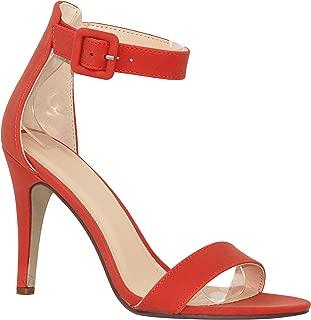MVE Shoes Women's Single Ankle Strap-Classy Kitten Heeled Sandal
