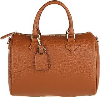 Chicca Borse Handbag Bauletto Borsa a Mano da Donna con Tracolla in Vera Pelle Made in Italy 30x23x18 Cm