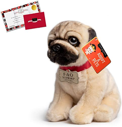wholesale FAO outlet sale Schwarz 10 Inch Plush Realistic Pug Stuffed Animal for Boys 2021 and Girls, Collectible Cuddle and Snuggle Pal Featuring Ultra-Soft Fur outlet online sale