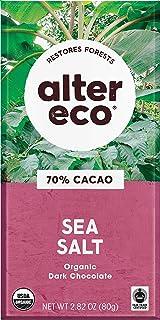 Alter Eco   Single Chocolate Bars   Pure Dark Cocoa, Fair Trade, Organic, Non-GMO, Gluten Free (Sea Salt)