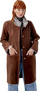 Miguel Marinero Abrigo de Mujer de Pelo Reversible Gris y marrón