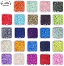 Round 8/0 Glass Beads Rainbow Seed Beads for Beading Making 3mm, Hole 1mm in Assorted Box (28800Pcs) by CCINEE