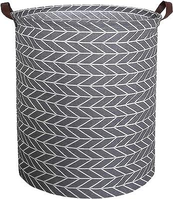 GZQNAN® Cotton Folding 48-Litre Round Laundry Basket for Organizing Cloths (Arrowheads)