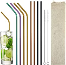 Stainless Steel Drinking Straws Metal Reusable Straws 8pcs-21℃ Extra Long Straws for 20oz-30oz Tumblers Bottles Come with ...