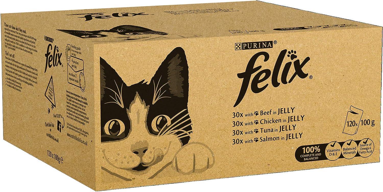 Felix - Alimento húmedo para gatos adultos, 120 Bolsas