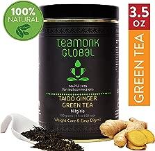 Teamonk Taido Nilgiri Ginger Green Tea Loose Leaf (50 Cups) | Weight Loss Tea | Slimming Tea | Helps Improve Digestion | Natural Ginger Tea | Pure Loose Leaf Tea | No Additives - 3.5oz
