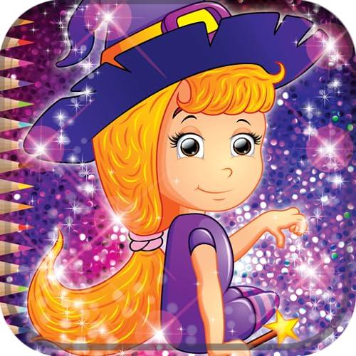 Livro de colorir de bruxa