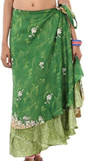 AUNERCART Women's Art Silk Wraparound Printed Reversible Wrap Around Long Skirt (Assorted Colour, Size Length-36 to 38, Waist-46 to 48 Inches)