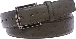 """1 1/2"""" Faux Ostrich Print Feather-Edged Leather Belt"""