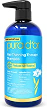 PURA D'OR Hair Thinning Therapy Shampoo for Prevention, Infused with Argan Oil, Biotin & Natural Ingredients, Sulfate Free, All Hair Types, Men and Women, 16 Fl Oz (Packaging may vary)