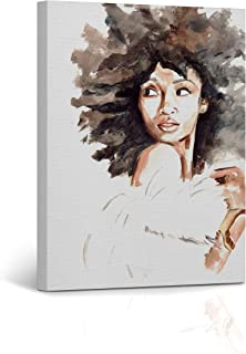 Buy4Wall African American Girl Wall Art Canvas Print Woman Watercolor Painting Decorative Art Home Decor Artwork Stretched and Framed - Ready to Hang -%100 Handmade in The USA 12x8