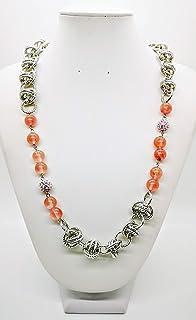 Collana in alluminio color argento con pietra Ossidiana ruby handmade made in italy idea regalo donna gioiello artigianale...
