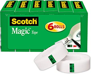 Scotch Brand Magic Tape, 6 Rolls, Numerous Applications, Cuts Cleanly, Engineered for Office and Home Use, 3/4 x 1000 Inch...