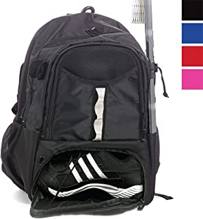 Athletico 青年长曲棍球包 - 超大长曲棍球背包 - 可容纳所有长曲棍球或曲棍球设备 - 两个棍夹和独立的夹板隔层