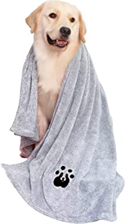 Dog Towel XL Super Absorbent Soft Luxury Microfiber Embroidered Dog Drying Towel for Large Medium Small Dogs Bathing Swimm...