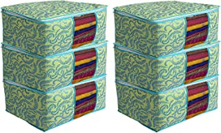 Kuber Industries Metalic Print 6 Piece Non woven Saree Cover Set, Green (CTKTC2590)