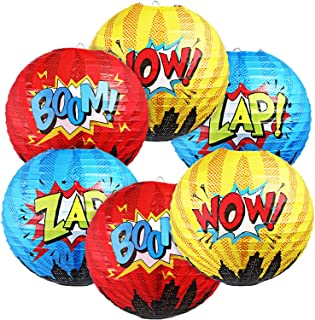 Blulu 6 Pieces Hero Party Decorations Hero Hanging Paper Lanterns for Hero Birthday Party Decorations for Kids Hero Theme ...