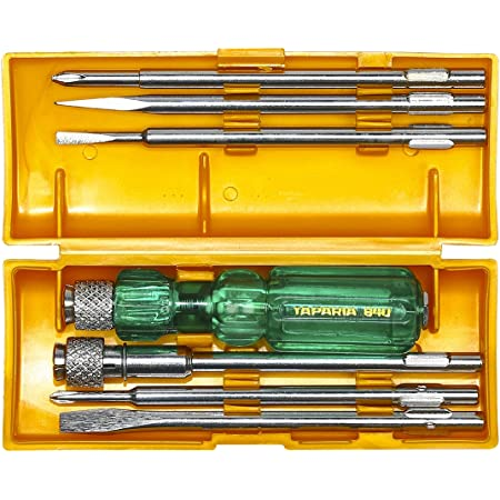 Taparia 840 Screw Driver Set with Neon Bulb, Silver and Green