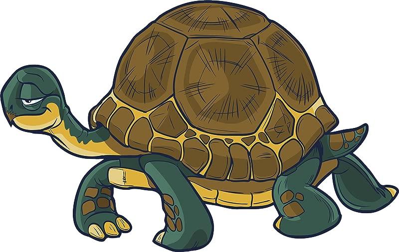 Smiling Happy Slow Tortoise Turtle Cartoon Vinyl Sticker 8 Wide