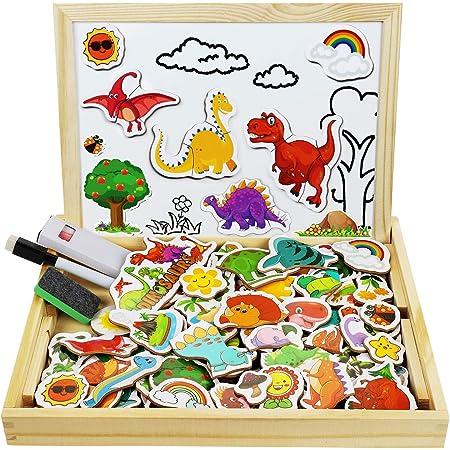 COOLJOY 118 Piezas Puzzles de Madera Magnético, Pizarra Magnética Rompecabezas para Niños 3 4 5 Año ect, Pizarra Magnética Rompecabezas, Tablero de Dibujo de Doble Cara Juguete Educativo(Dinosaurios)