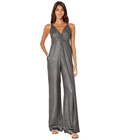 Jonathan Simkhai Metallic Chiffon Tie Back Jumpsuit Cover-Up (Black) Women