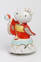 取寄品:1週間前後 和装 ハローキティ 陶製レース人形 オルゴール SR-2403R(赤) 【 陶器 人形 】